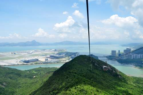 A view down the Ngong Ping 360 cable car route