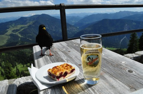 Hungry crow, plum cake, beer, and snow-capped mountains. Nice combination!