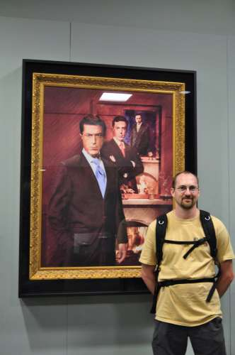 "Yours truly posing for my one-and-only ""touristic"" photo in front of Colbert's portrait"