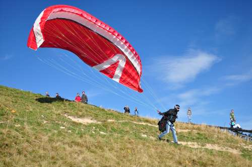 Paraglider takeoff from Brauneck - I walked down the slope a ways to get this shot