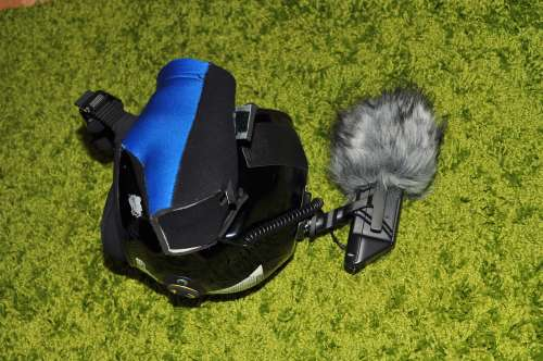 Angled view of helmet camera setup