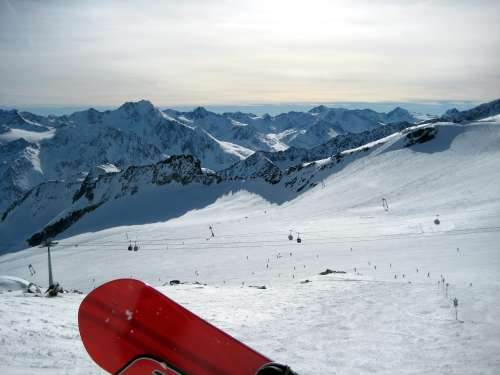 Snowboarding at Soelden, Austria