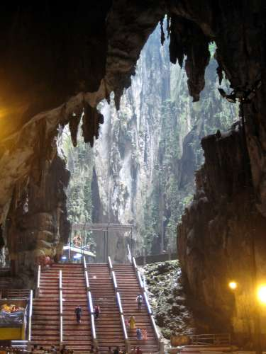 Inside the Temple Cave: the far chamber is open to the sky