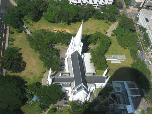 View of St. Andrew's Cathedral from Swissotel The Stamford