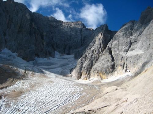 View of Hoellentalferner Gletscher and Zugspitze