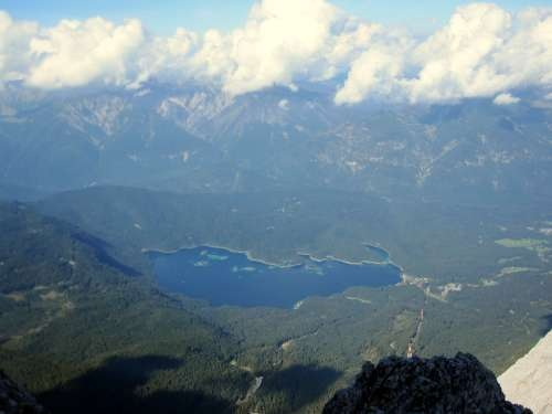 View of Eibsee from the climb up Zugspitze