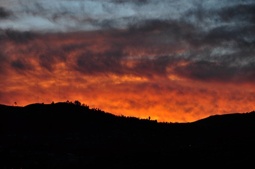 Fiery Sunset over the Ruins at Cusco