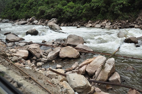 Machu Picchu - damaged train tracks to Aguas Calientes