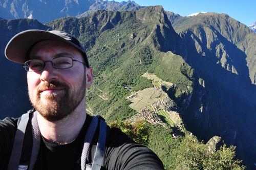 Dave self-portrait at the top of Wayna Picchu