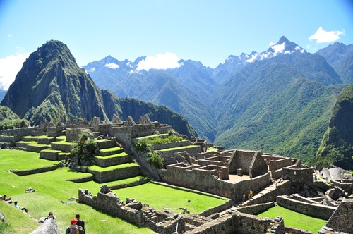 View over Machu Picchu ruins to Wayna Picchu on the left