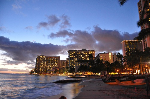 Sunset at Waikiki Beach on Oahu, Hawaii