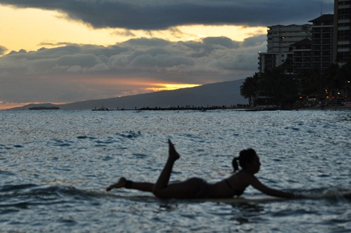 Waikiki Surfing Girl Silhouette