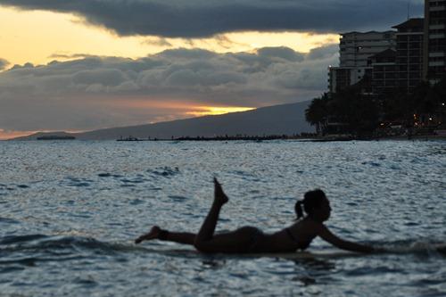 Waikiki Surfing Girl Silhouette