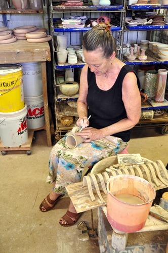 Making mugs at Clayworks at Kilohana