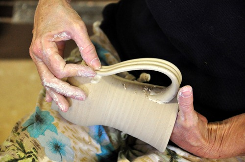 Attaching the clay mug's handle