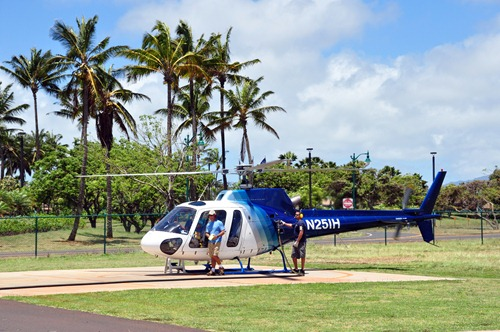 Island Helicopters - maintaining the aircraft between every flight, polishing the HUGE windows