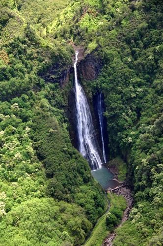 Manawaiopuna Falls on Kauai, also known as Jurassic Falls