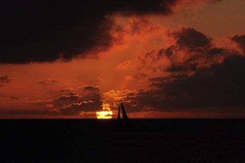Sailboat Sunset over Hanalei Bay, Kauai