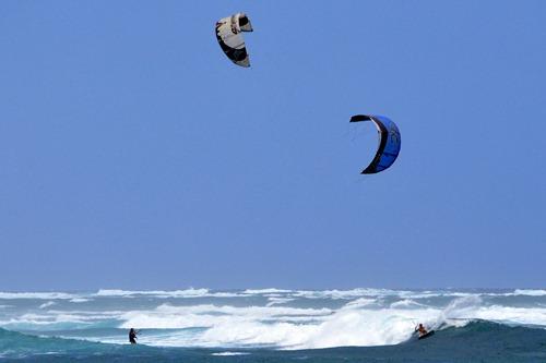 Kitesurfing near Lihue, Kauai