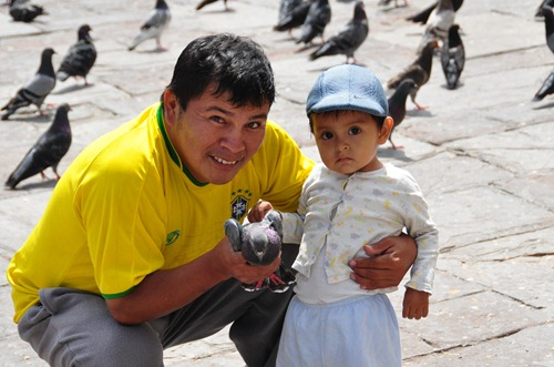 Father and Son with Pigeon