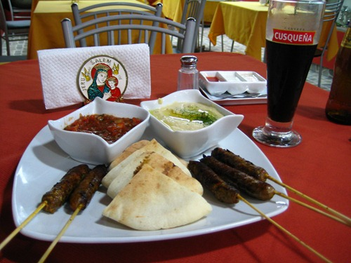 Arabic fare in Miraflores - Chorizo and Salsa with Hummus?