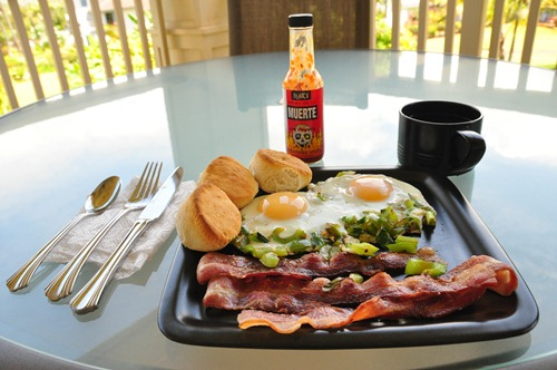 Tasty breakfast with Blair's Death Sauce
