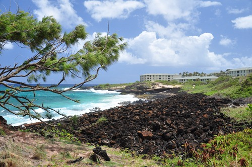 Lava stone beach at Poipu Kai