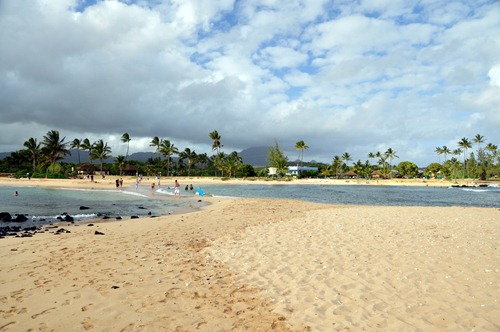 Sand bridge beach at Poipu
