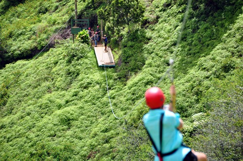 A bird's-eye-view down the zip course
