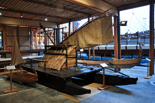 An old sailboat in Auckland's maritime museum