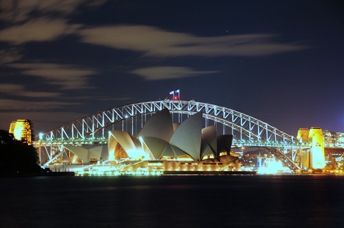 Sydney Opera House and the Sydney Harbor Bridge at night
