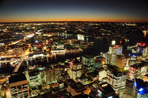 Darling Harbor at night from Sydney Tower