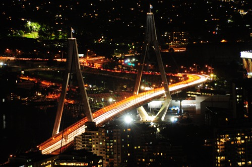 ANZAC Bridge at night from Sydney Tower