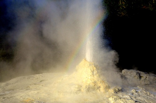 A rainbow in Lady Knox geyser at Wai-O-Tapu