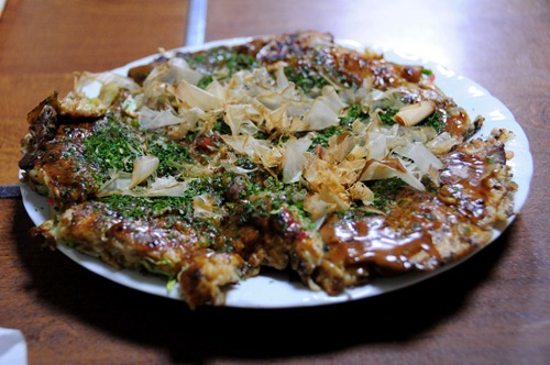 Okonomiyaki at Kawa restaurant in Kyoto
