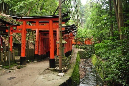 Orange gates at the Inari shrine in Kyoto