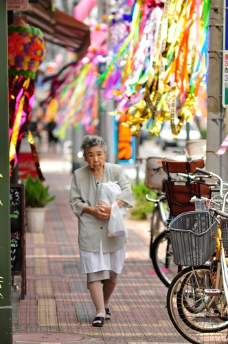 Japanese woman in a decorated street near Asakusa