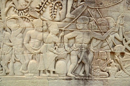 Angkor wall carving - turtle bite