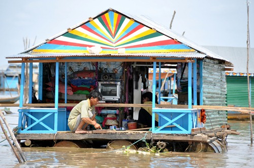 Colorful house on Tonle Sap Lake