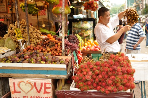 Various fruits that Westerners have probably never heard of like rambutan and durian