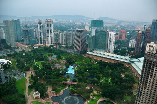 View of KLCC  (City Centre) park from the Petronas Towers