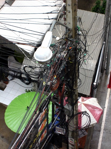 Messy electrical wires in Bangkok