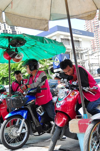 Motorcycle taxi drivers in Bangkok
