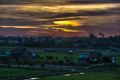 Cambodia Sunset 2 over Rice Paddies