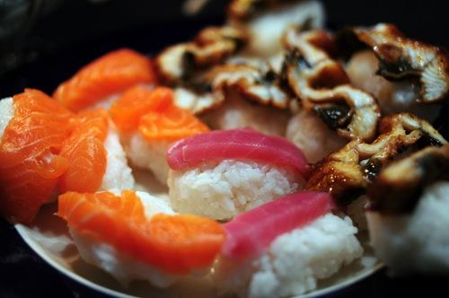 Homemade sushi - Eel (Unagi) on the right