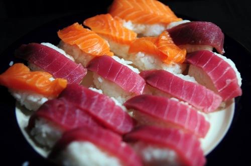 Homemade tuna and salmon sushi - Maguro, Sake