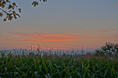 HDR Sunset over Weilheim corn